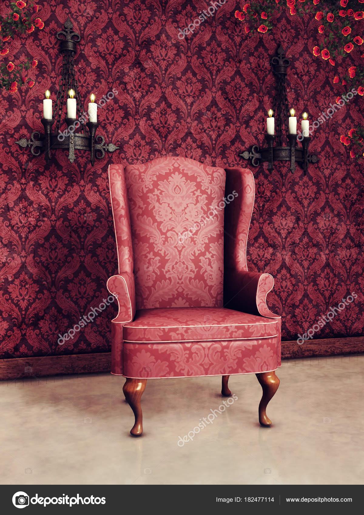 Chambre Vintage Rose Foncé Avec Vieux Fauteuil Appliques Ornementées ...