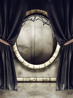 Ornamented vintage window in an old room with long black velvet curtains. 3D render.