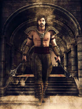 Fantasy male warrior walking through a dark corridor in a medieval castle. 3D render.