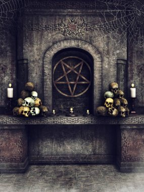 Dark stone altar with skulls, candles, cobwebs, and an occult pentacle. 3D render.