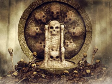 Dark scene with a throne made of bone surrounded by skulls. 3D render.