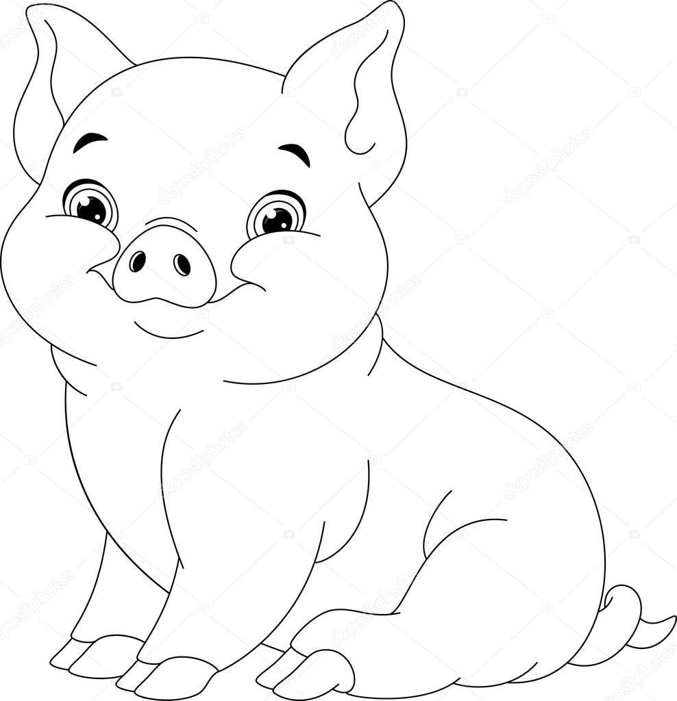 Pig Coloring Page — Stock Vector © Malyaka #129524520