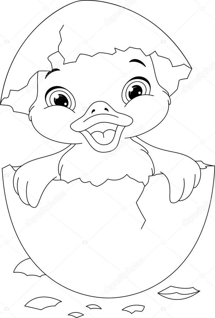 Kleurplaten Van Baby Eendjes.Eendje Kleurplaat Stockvector C Malyaka 129531656