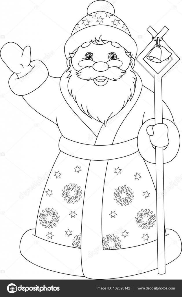 Noel Baba Boyama Sayfası Stok Vektör Malyaka 132328142