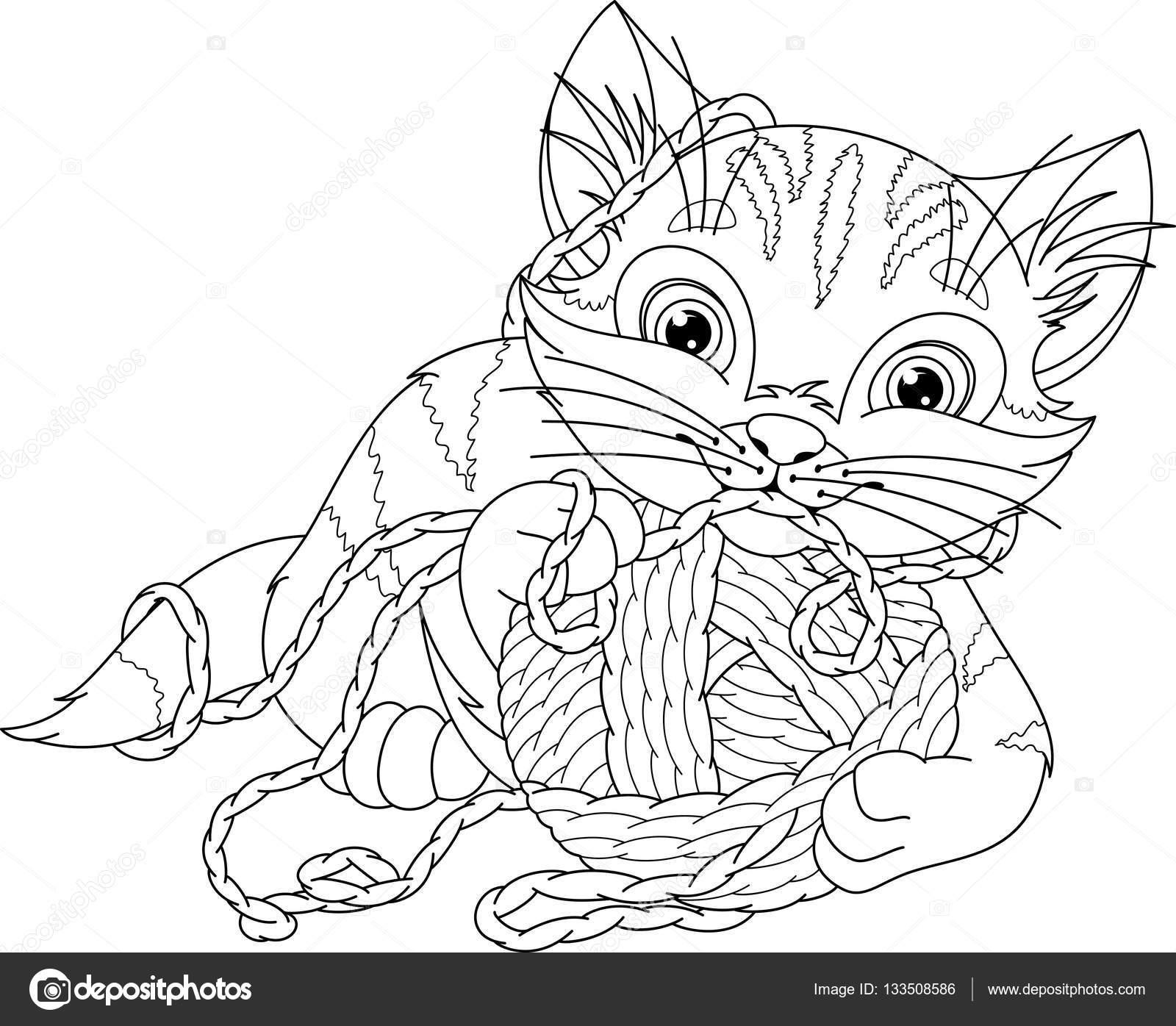kitten kleurplaat stockvector 169 malyaka 133508586