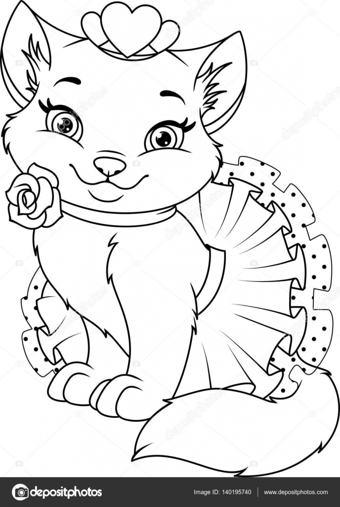Página para colorear de princesa gato — Vector de stock © Malyaka ...
