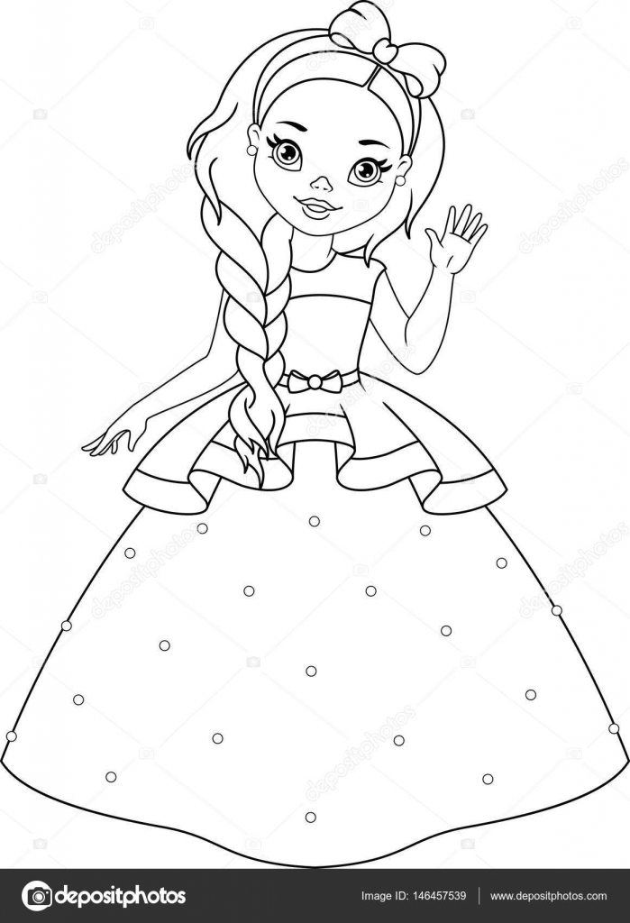 Página para colorear de pequeña princesa — Vector de stock © Malyaka ...