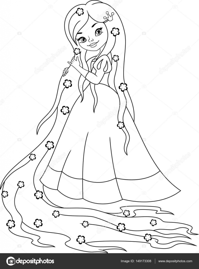 Coloriage Chateau Raiponce.Coloriage Princesse Raiponce Image Vectorielle Malyaka C 149173308