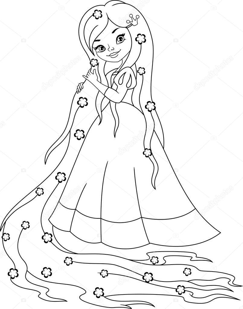 Prenses Rapunzel Boyama Sayfası Stok Vektör Malyaka 149173308