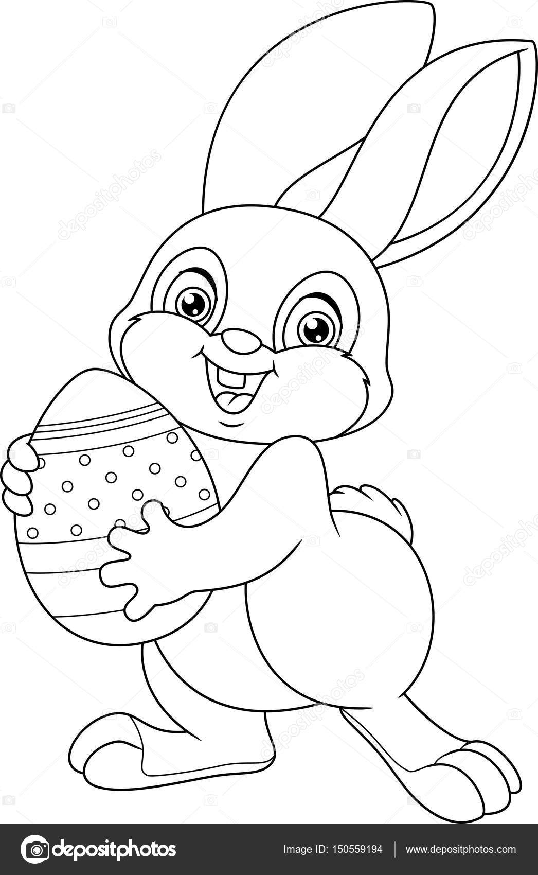 Easter Rabbit Coloring Page — Stock Vector © Malyaka #150559194