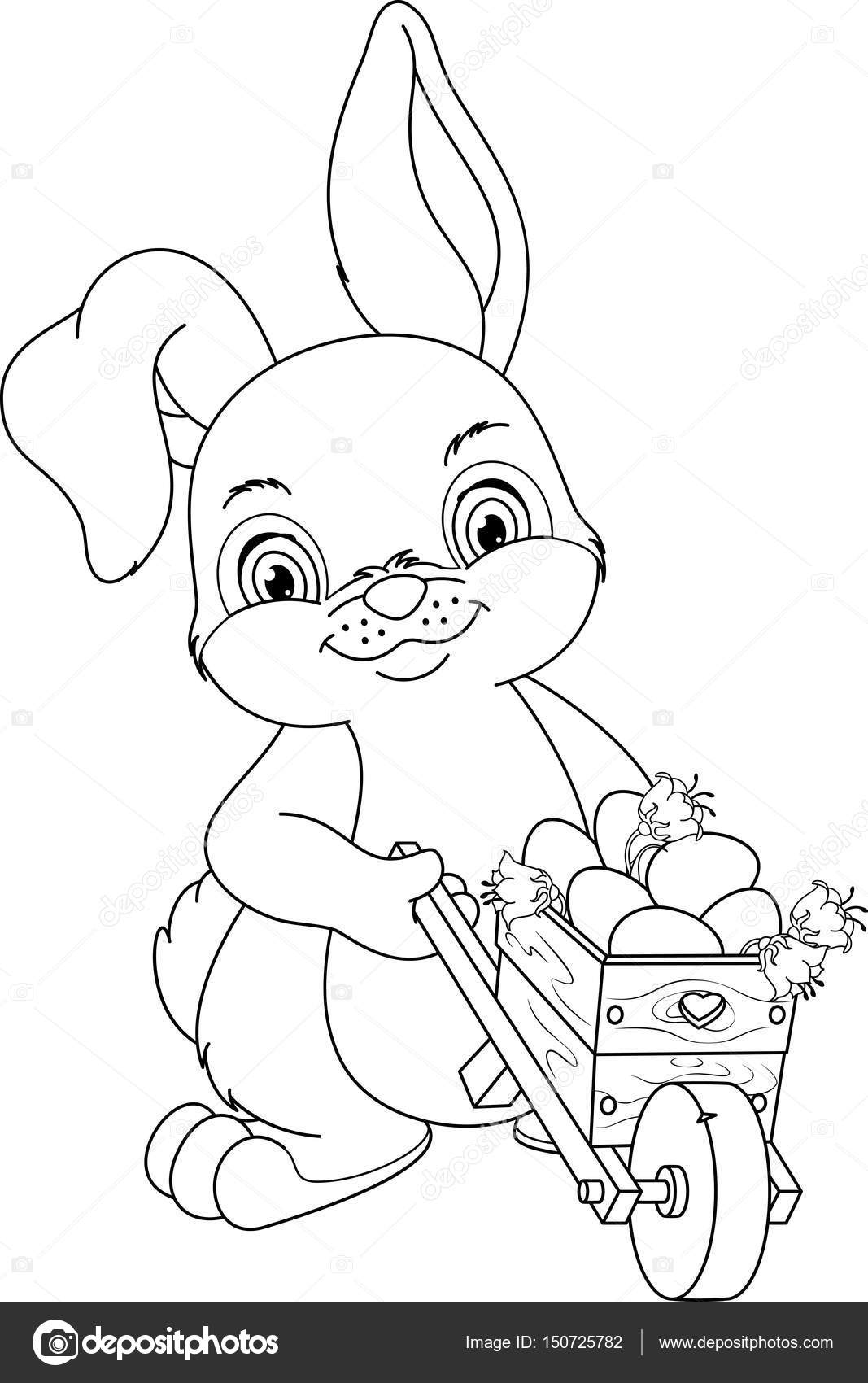 Easter Bunny Coloring Page — Stock Vector © Malyaka #150725782