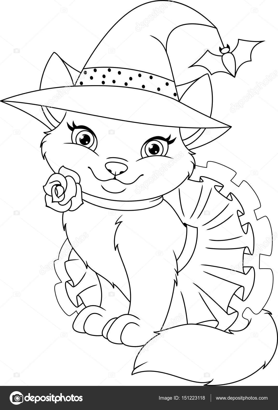 Página para colorear de gato bruja — Archivo Imágenes Vectoriales ...