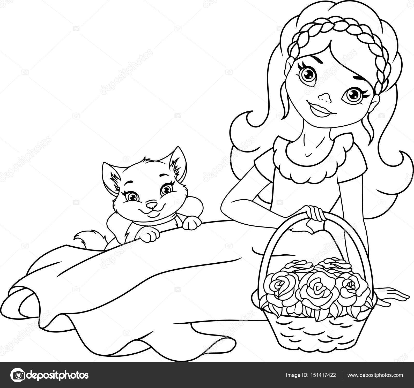 Niña con flores y mascotas página para colorear — Vector de stock ...