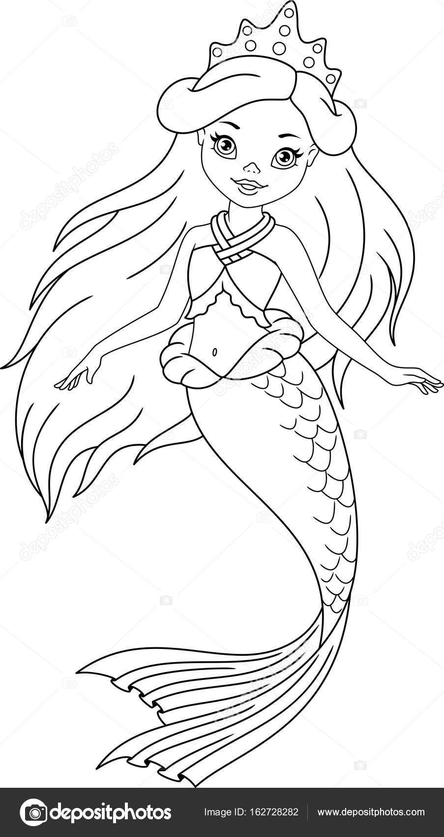 Página para colorear de sirena — Archivo Imágenes Vectoriales ...