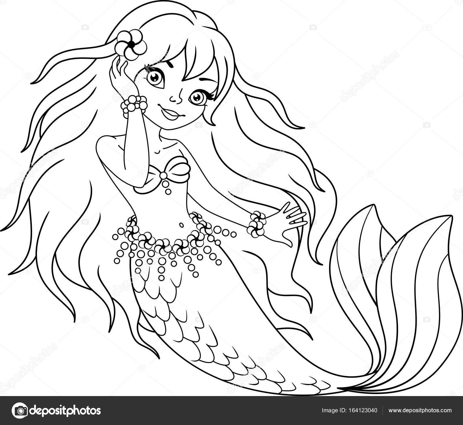 Deniz Kızı Boyama Sayfası Stok Vektör Malyaka 164123040