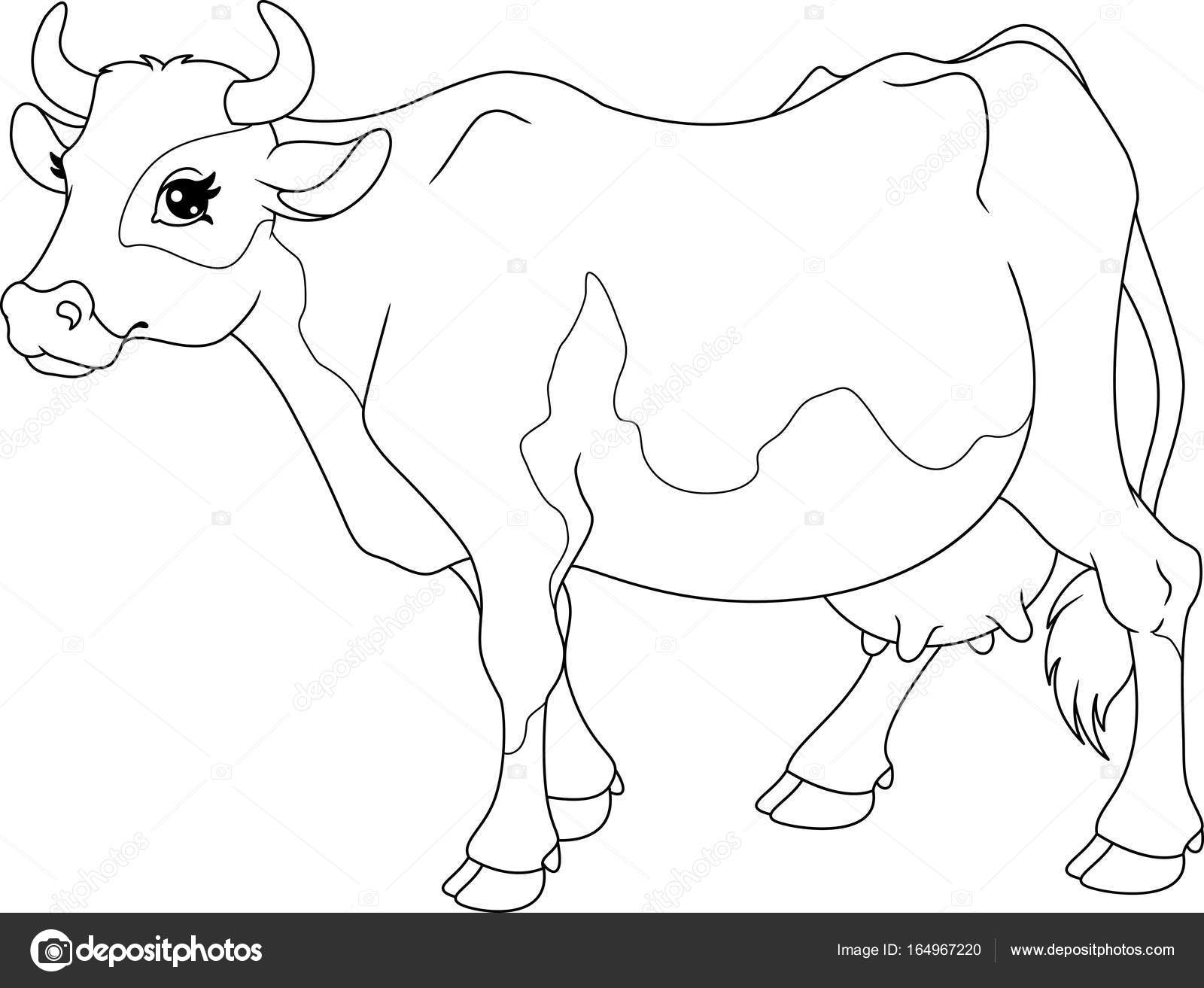 Cow Coloring Page Stock Vector C Malyaka 164967220
