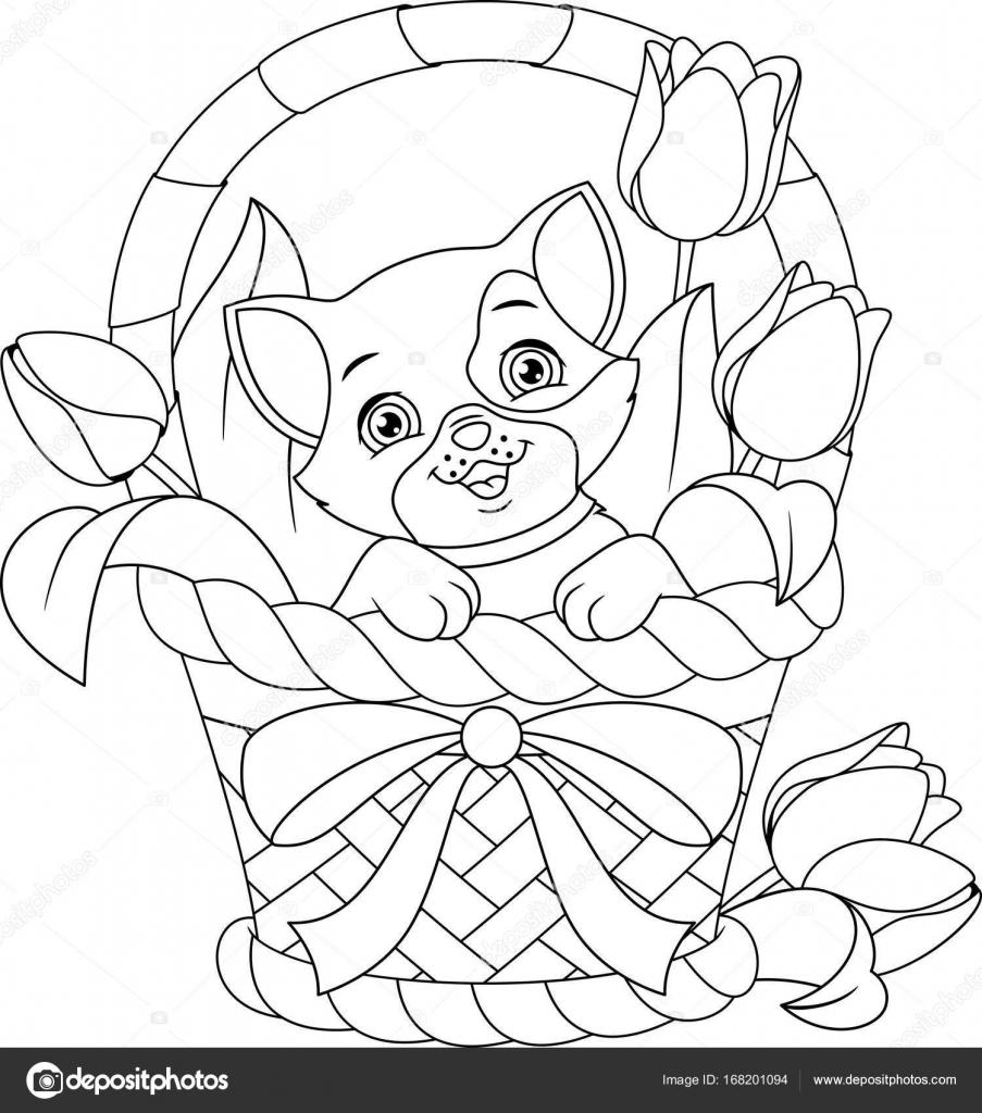 Kedi Sepet Boyama Sayfası Stok Vektör Malyaka 168201094