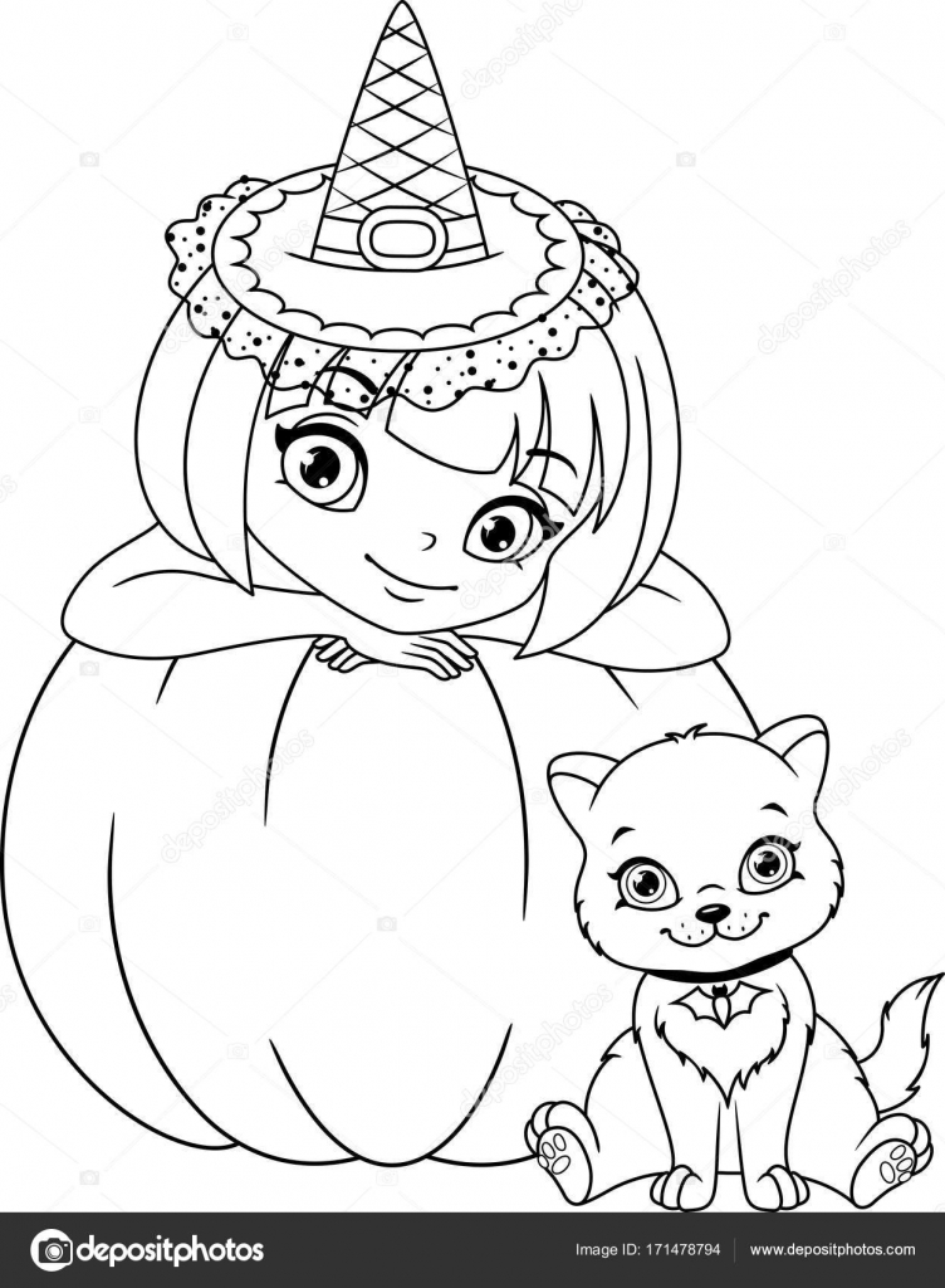 Hexe mit Katze Malvorlagen — Stockvektor © Malyaka #171478794