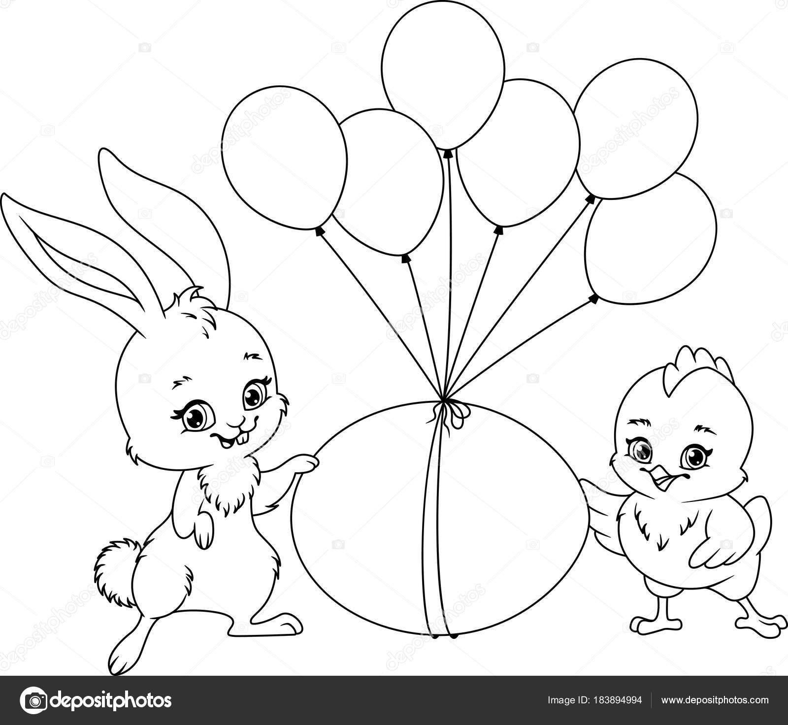 Kleurplaat Voor Pasen Illustratie Konijn Kip Met Paasei