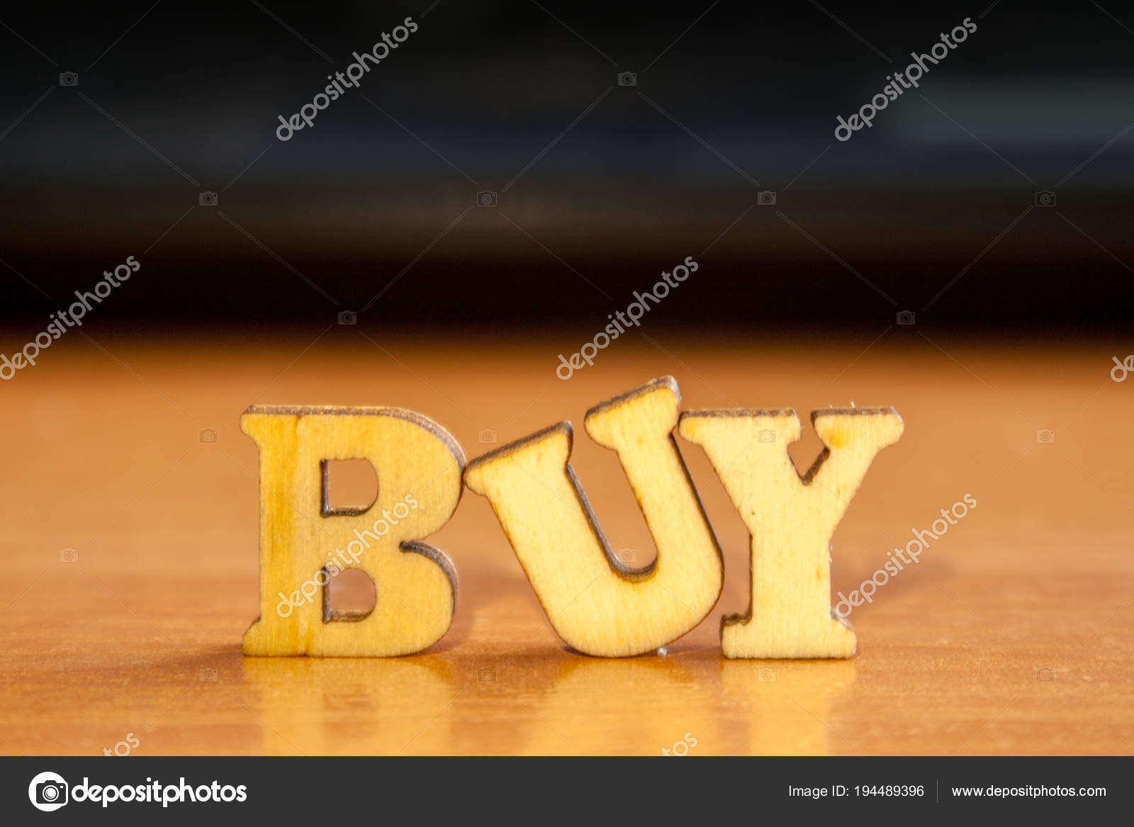 Word Buy Made Wooden Letters Wood Inscription Table Stock Photo