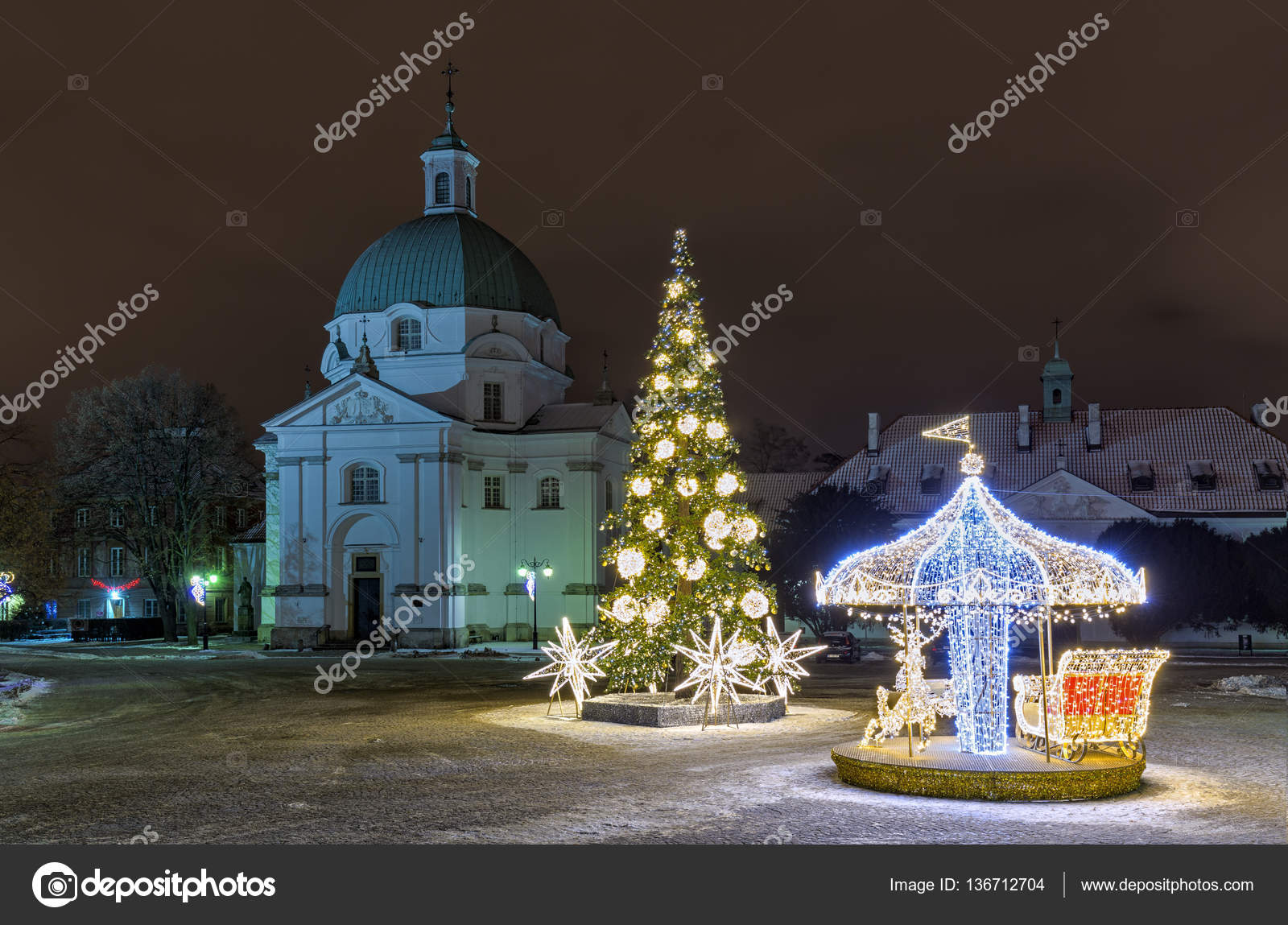 christmas decorations on the old city in warsaw new town square photo by fotorince74