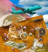 Bild von Flugzeug, Kamera, Geld und Flaggen verschiedener Länder