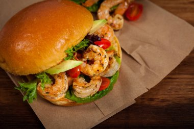 Homemade Shrimp Burgers. Selective focus.