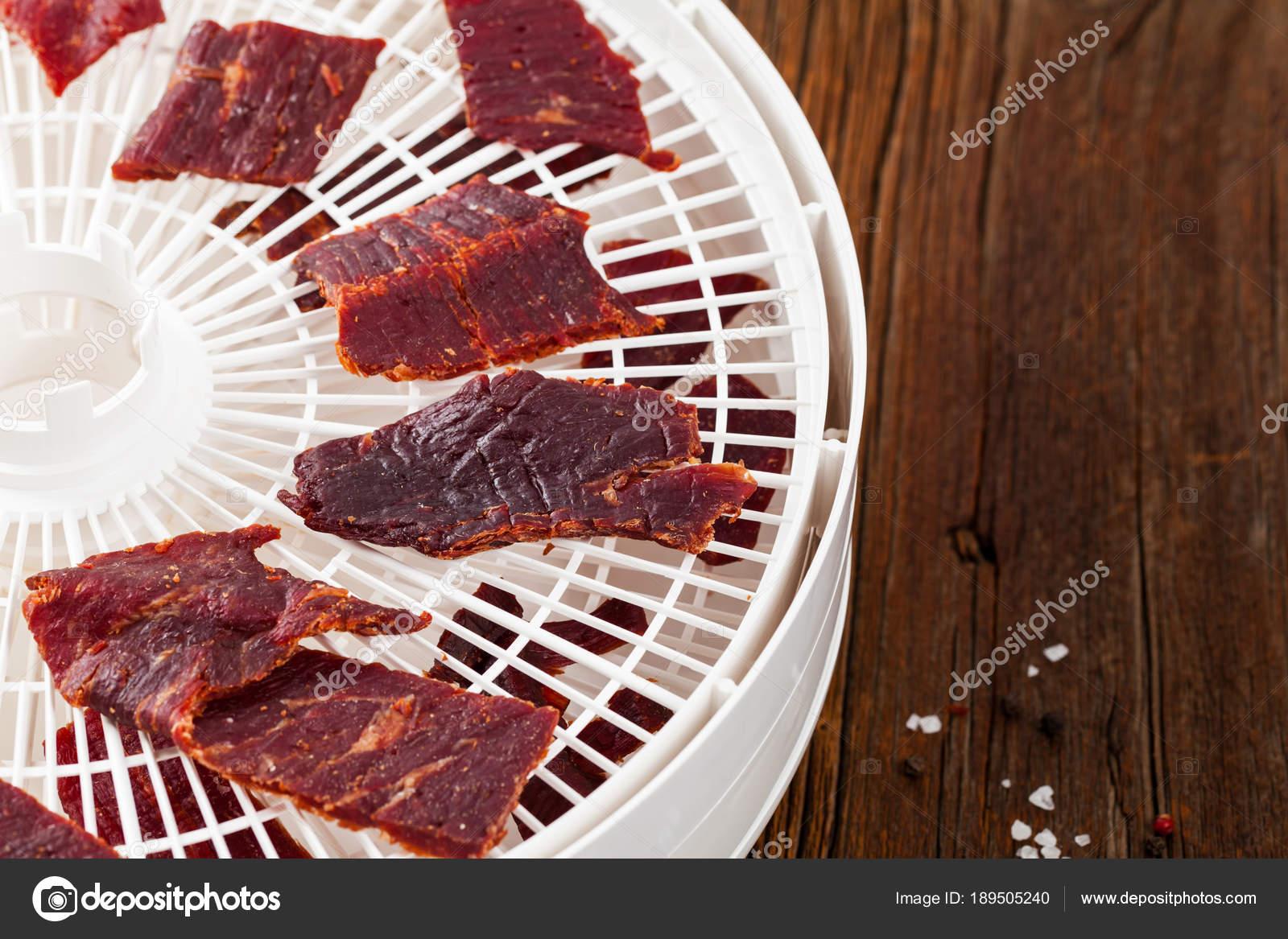 Homemade Beef Jerky Dehydrator Selective Focus Stock Photo
