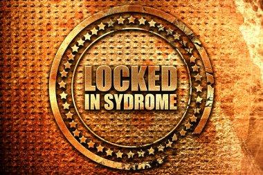 locked in syndrome, 3D rendering, grunge metal stamp