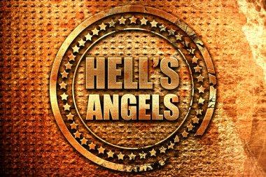 hells angels, 3D rendering, grunge metal stamp