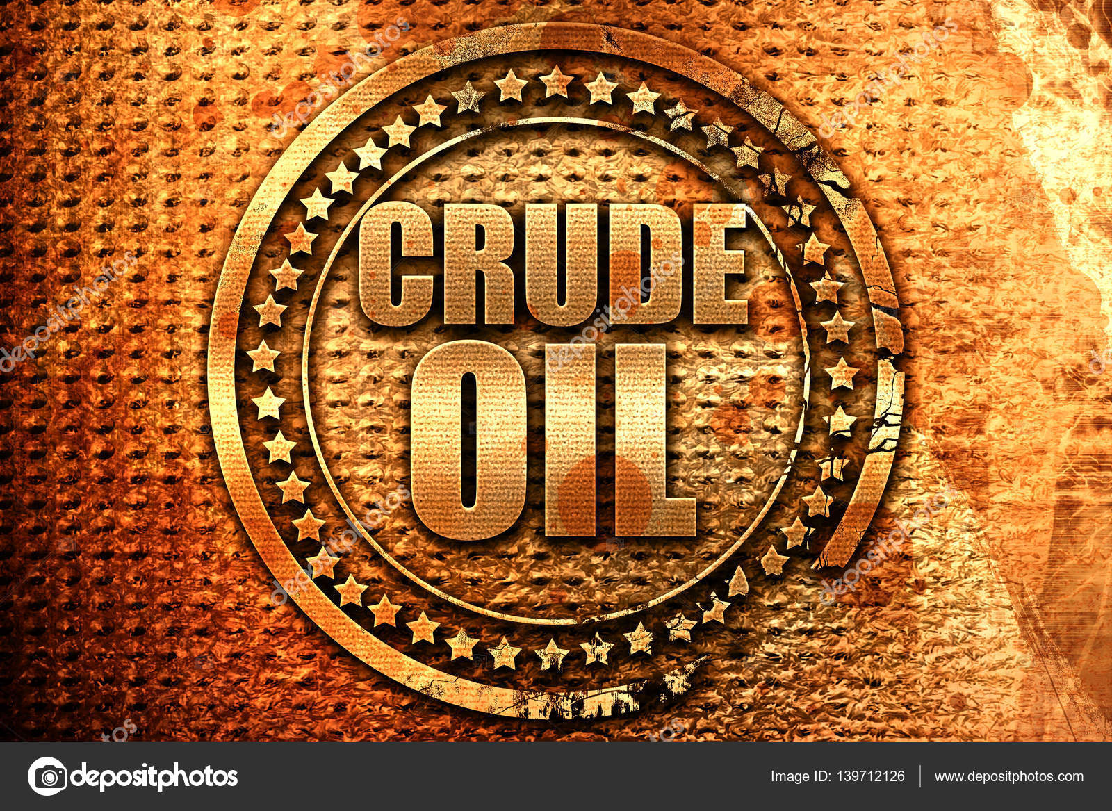 Crude Oil 3d Rendering Grunge Metal Stamp Stock Photo Ellandar