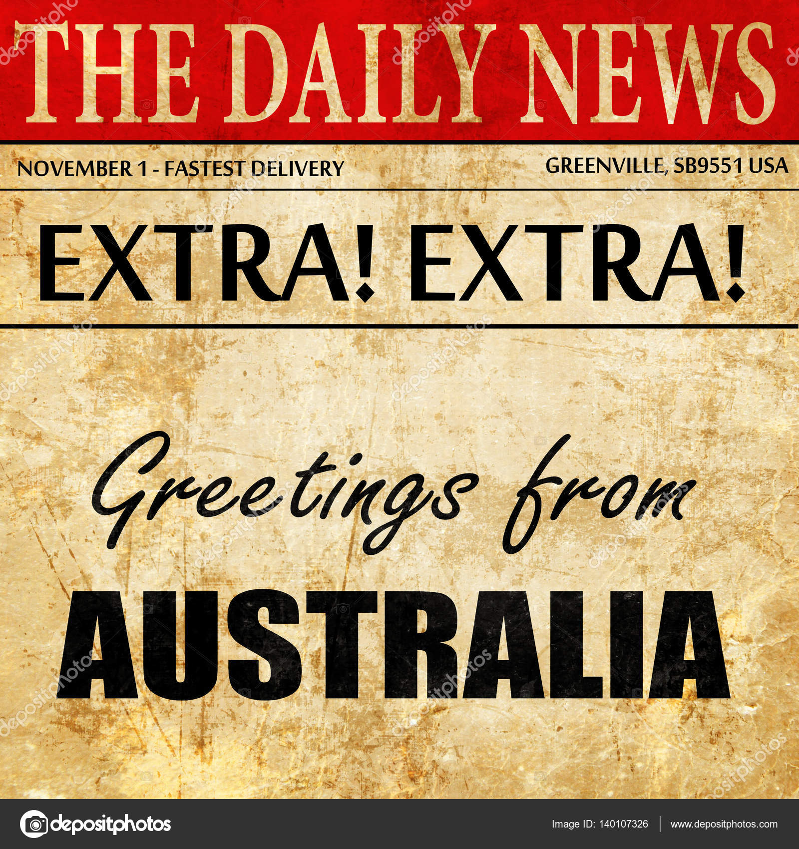 Greetings From Australia Newspaper Article Text Stock Photo