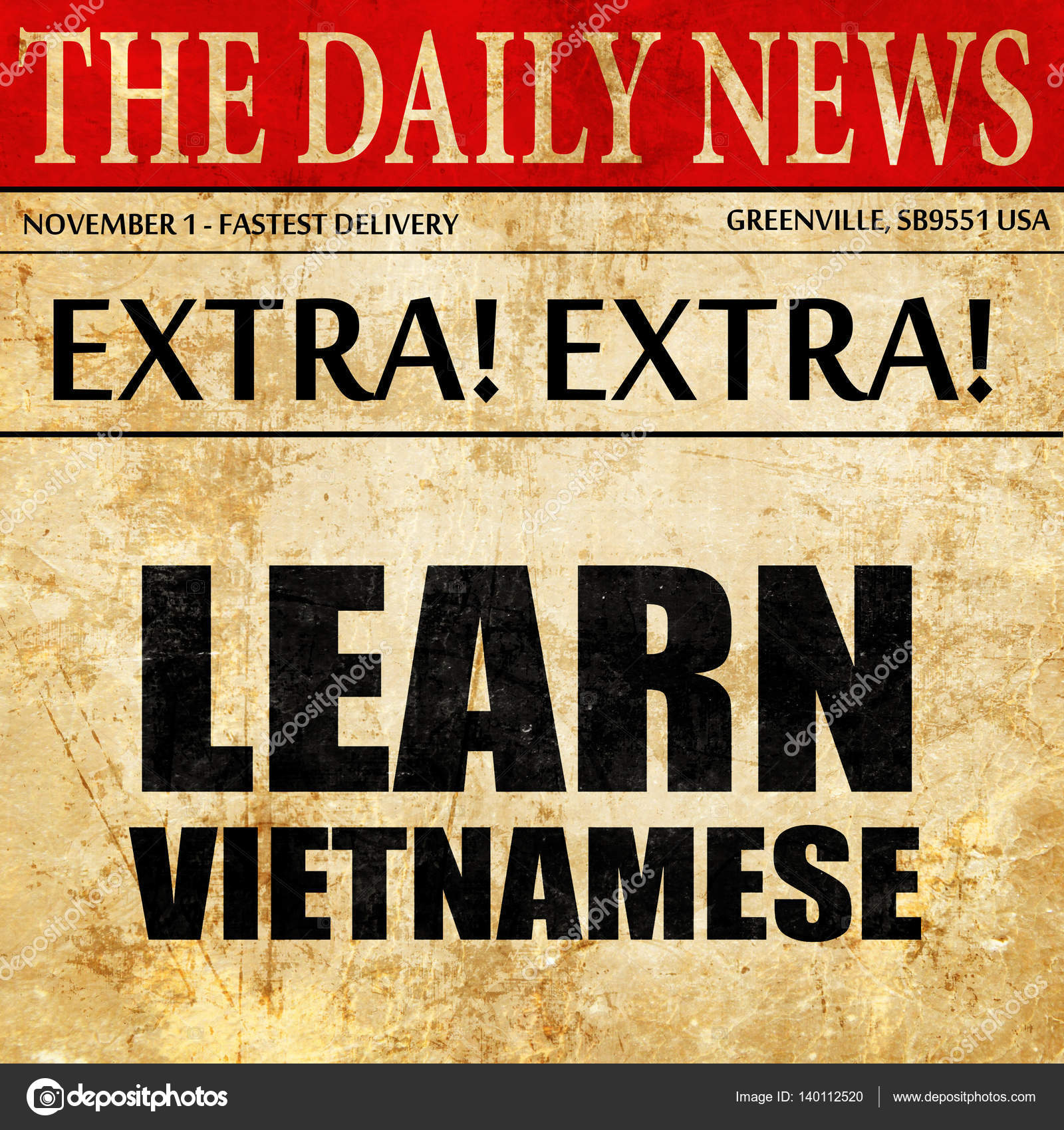 learn vietnamese, newspaper article text — Stock Photo