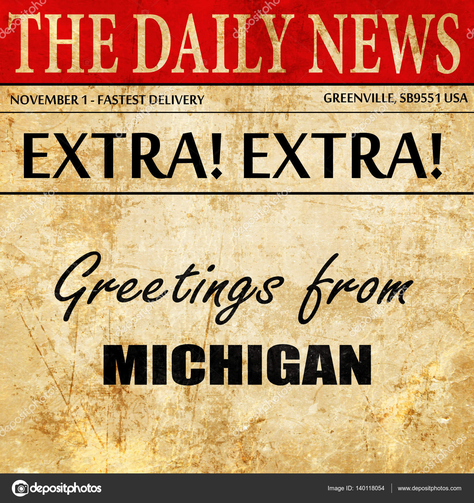 Greetings from michigan newspaper article text stock photo greetings from michigan newspaper article text stock photo m4hsunfo