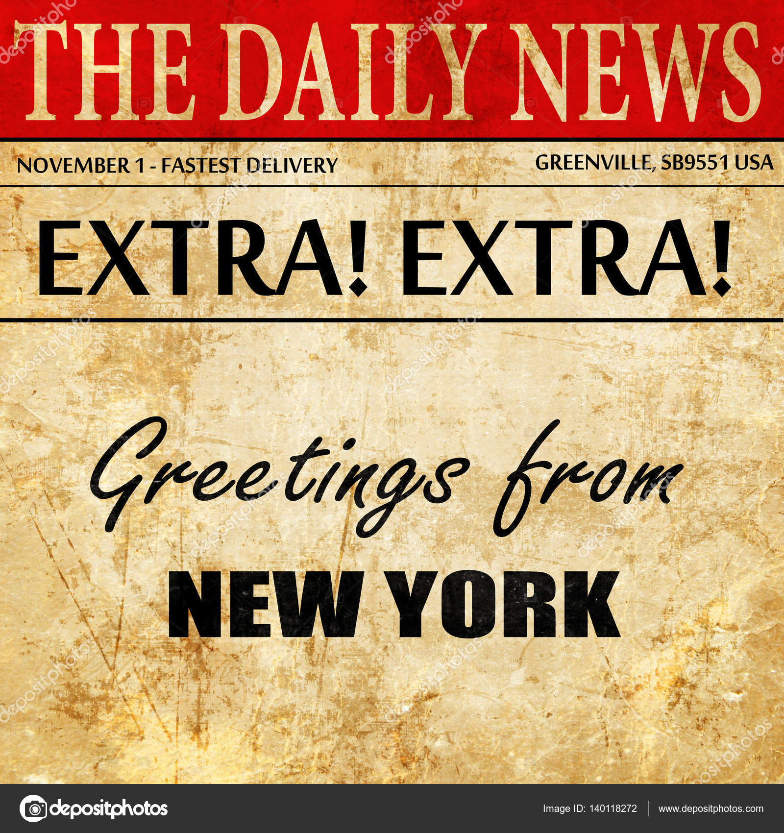 Greetings from new york newspaper article text stock photo greetings from new york newspaper article text stock photo kristyandbryce Images