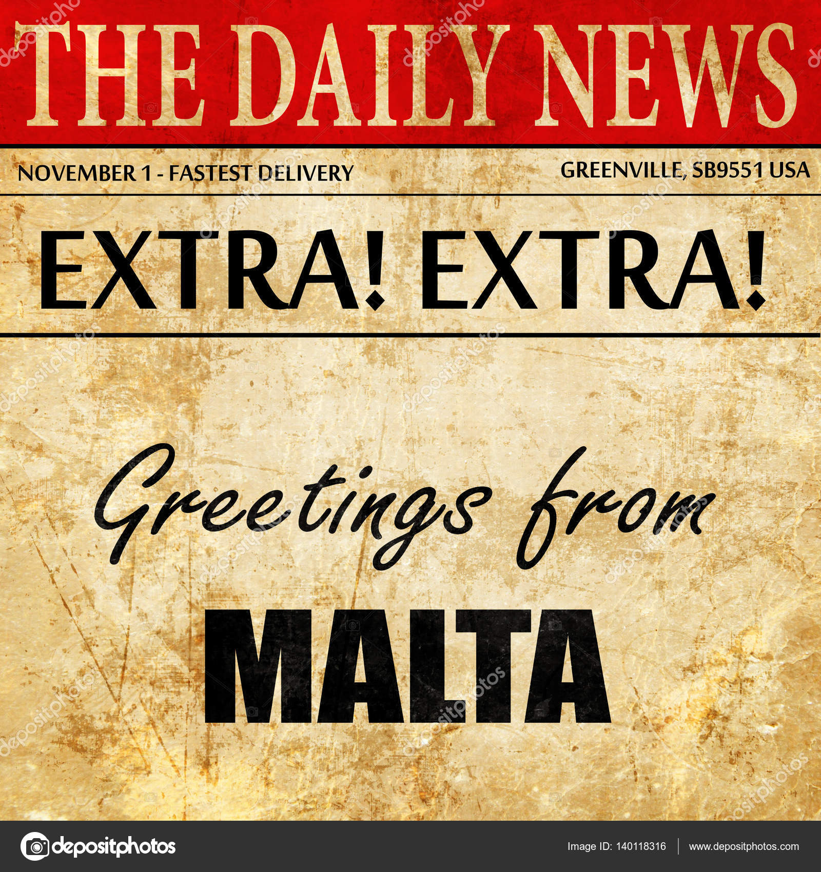 Greetings From Malta Newspaper Article Text Stock Photo