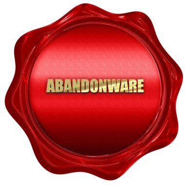 abandonware, 3D rendering, red wax stamp with text