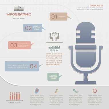 Infographics Microphone design template with icons, process diag