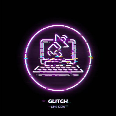 Laptop with loudspeaker line art vector icon. Outline symbol of advertising. Business promotion pictogram made of thin stroke. Glitched 80s cyber punk style.