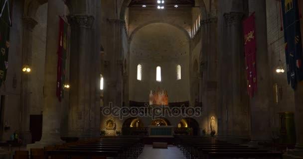 Interior of church of Santa Maria della Pieve. Arezzo, Tuscany (Italy)