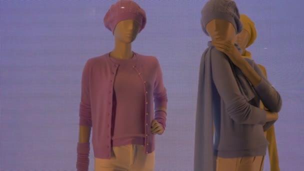 Barevné figuríny ženy na hluk pozadí videa