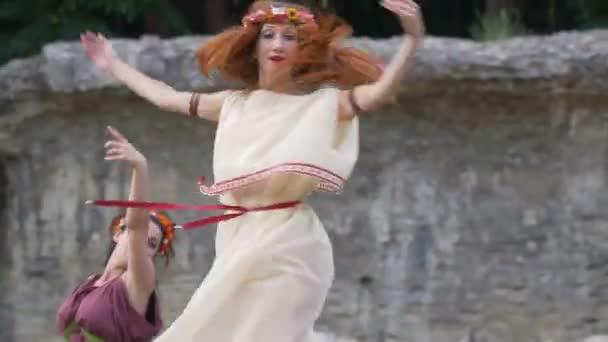 Roman Women Performing Ancient Erotic Dance Reenactment Back Time July Stock Video