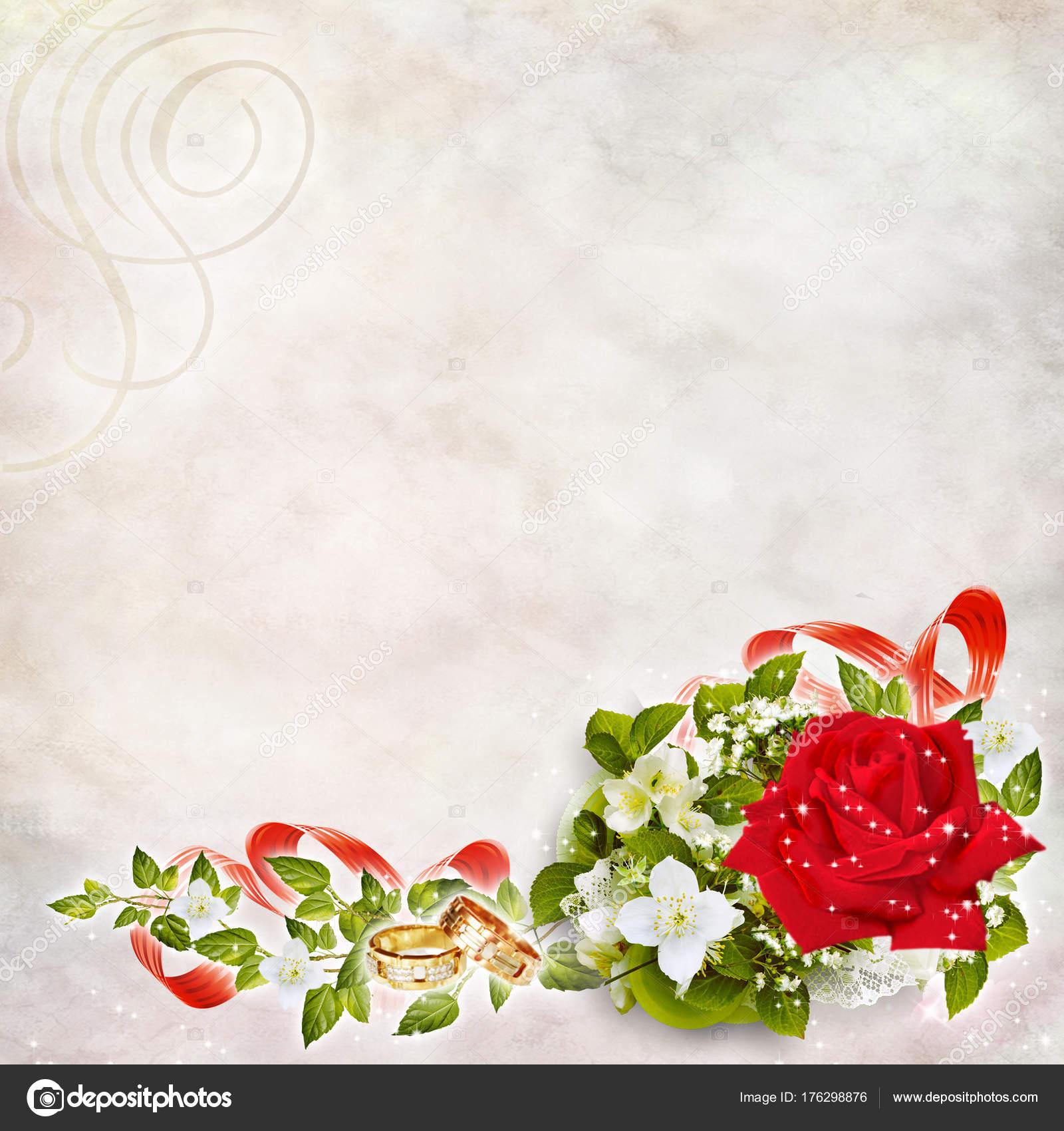 Eine Feierliche Hochzeitskarte Mit Blumen Ringe Bander Schone