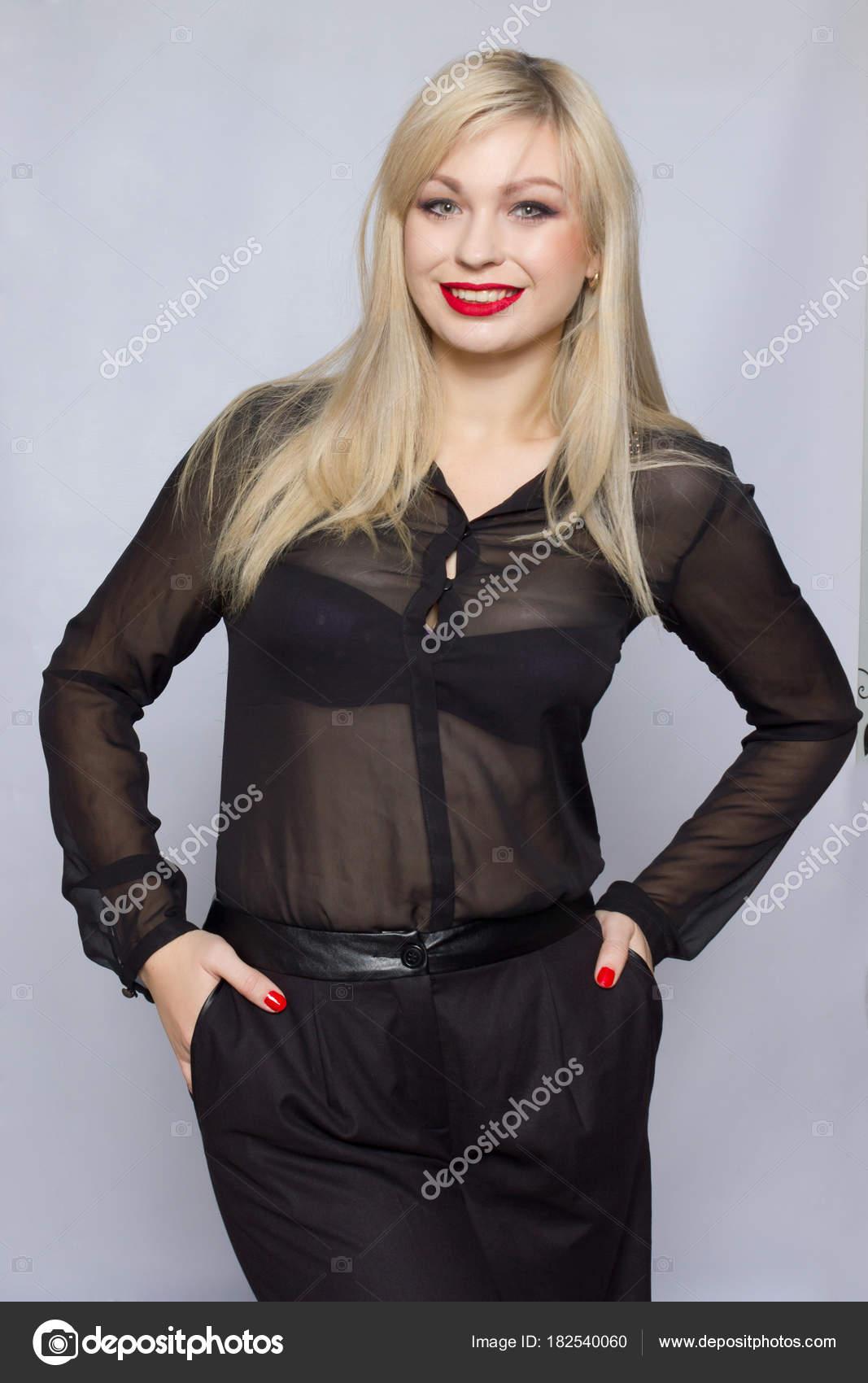 7eced732aefd0 Chica Guapa Sexy Hermosa Usar Traje Negro Blusa Pantalones Dama — Fotos de  Stock