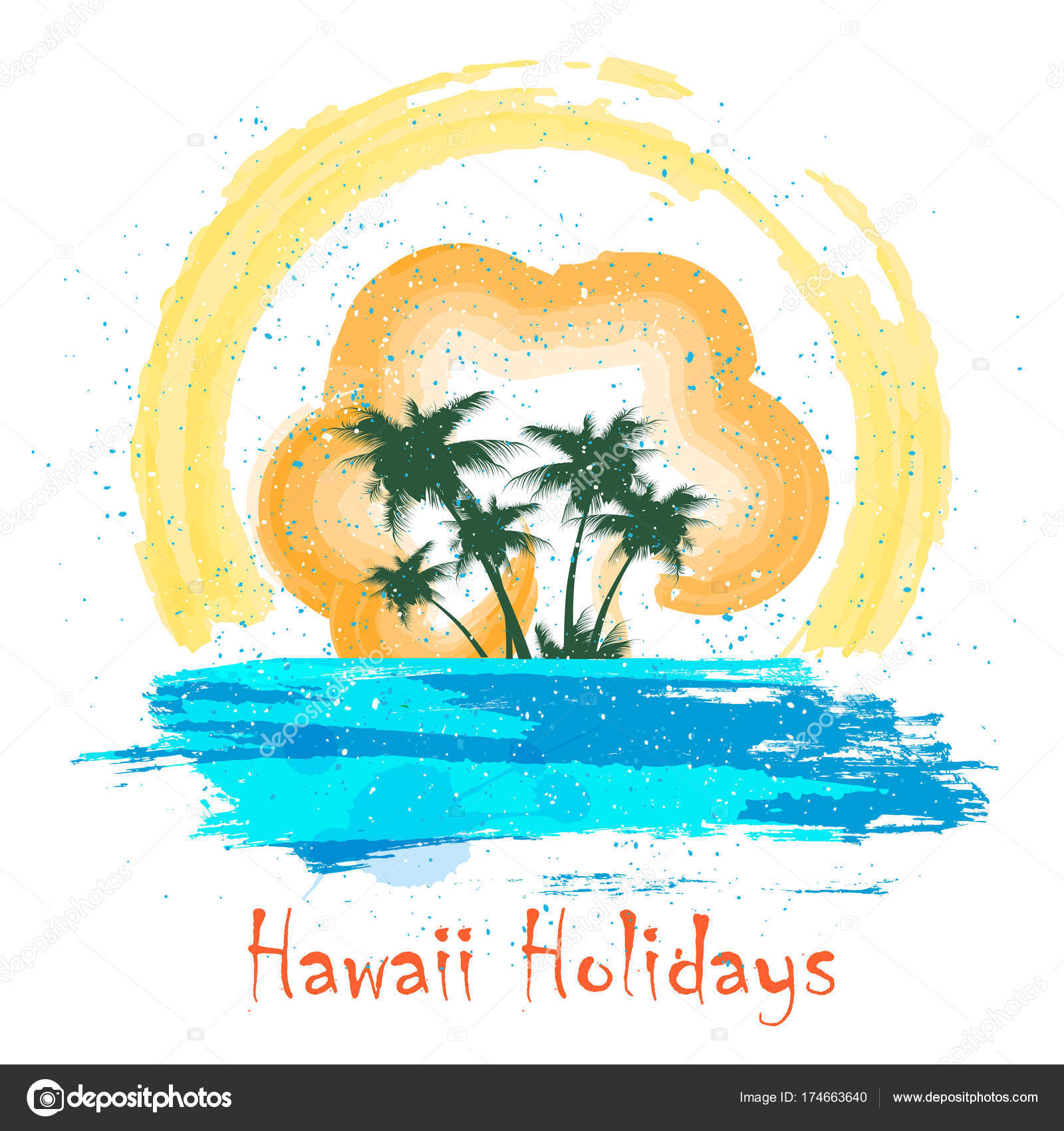 retro hawaii holiday poster stock vector