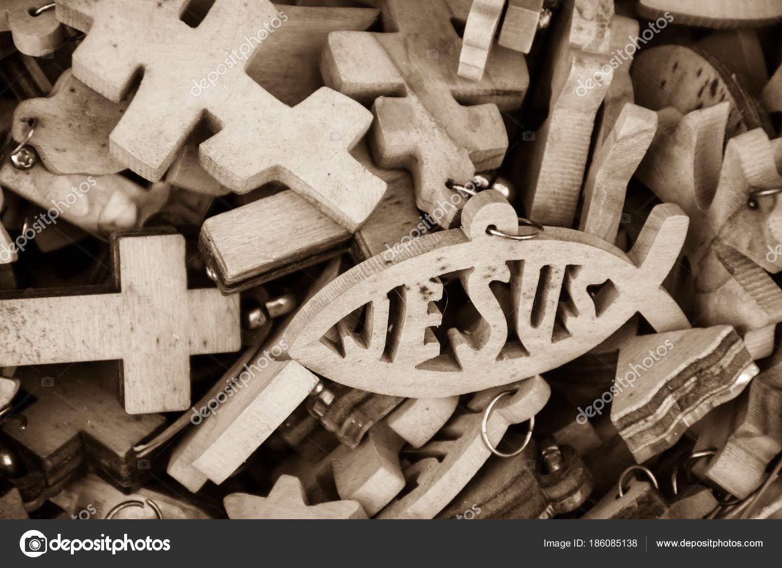 Different Wooden Crosses Jesus Fish Symbol Sale Market Old City