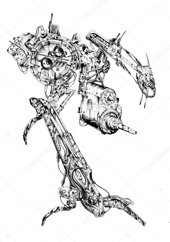 Dibujo ilustración de arte estilo cyborg — Foto de stock ...