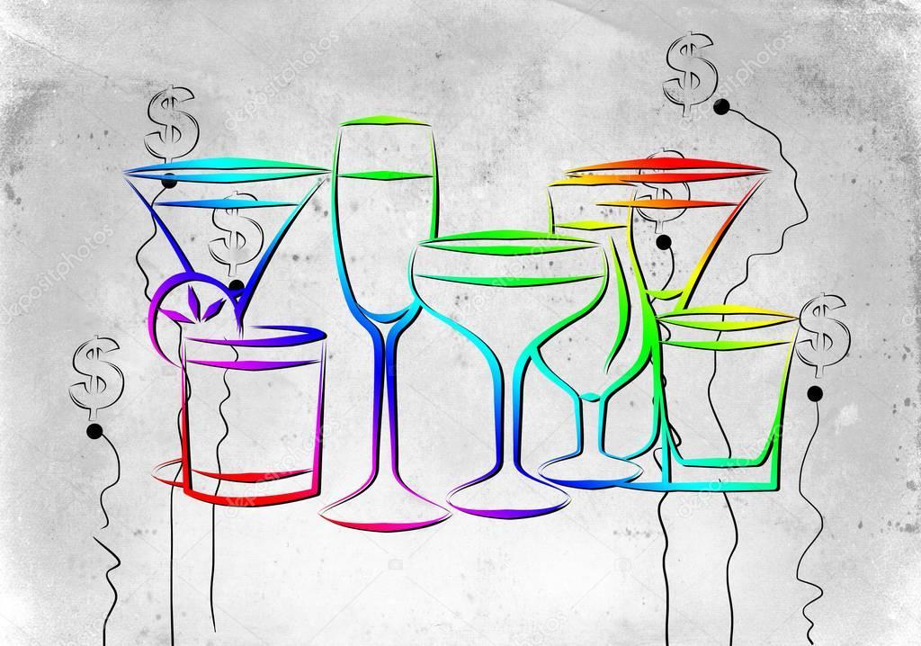 verschiedene arten von alkohol auf einem kreativen hintergrund stockfoto maxtor7777 147028731. Black Bedroom Furniture Sets. Home Design Ideas