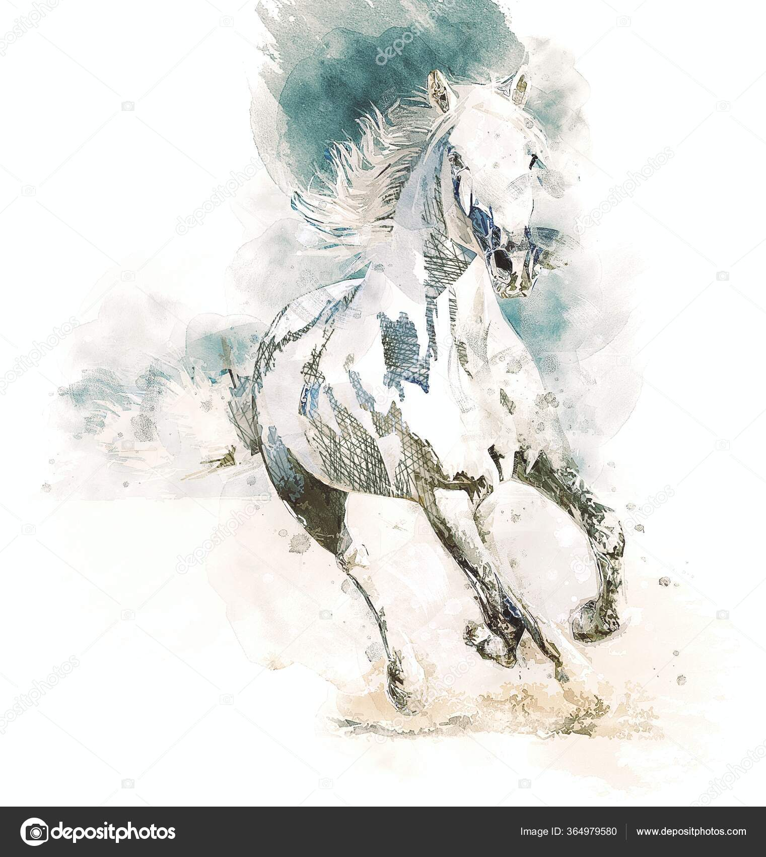 Colorful Horse Art Illustration Grunge Painting Stock Photo C Maxtor7777 364979580
