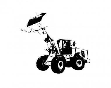 Excavator illustration color isolated funny artowkr for design